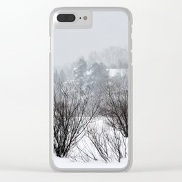 Field trees in winter Clear iPhone Case