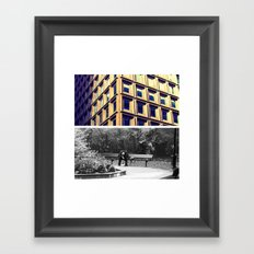 The weight of the city Framed Art Print