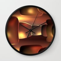 copper Wall Clocks featuring Copper Toned by Lyle Hatch