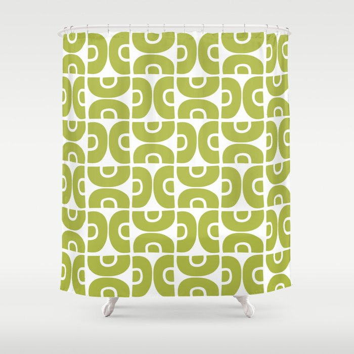 Groovy Mid Century Modern Pattern Chartreuse Shower Curtain By Tonymagner