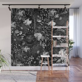 Graphite Floral Chaos Wall Mural