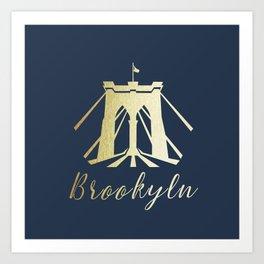 Brooklyn Bridge in Gold Art Print
