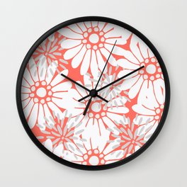 Summer Flowers Living Coral Wall Clock