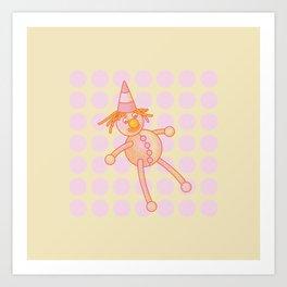 Smiley – the Fluffy Rag Doll Art Print