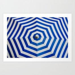 Blue Umbrella Pattern Art Print
