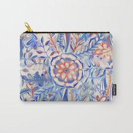 Boho Flower Burst in Red and Blue Carry-All Pouch