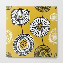 Folksy Floral in Yellow Metal Print