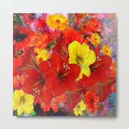 DECORATIVE RED-YELLOW AMARYLLIS BOUQUET Metal Print