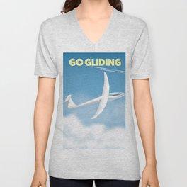 Go Gliding - Gliding sports travel poster. Unisex V-Neck