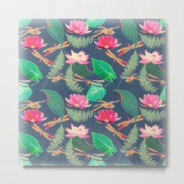 Lotus Flowers and Dragonflies Metal Print