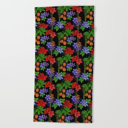 Jamaican Flowers and Fruits Tropical Pattern Beach Towel