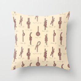 Nautical Knots (Beige and Sepia) Throw Pillow