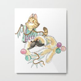 Tabitha and Figaro Decking the Halls Metal Print