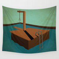 swimming Wall Tapestries featuring swimming death by gazonula