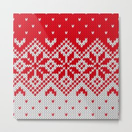 Winter knitted pattern 10 Metal Print