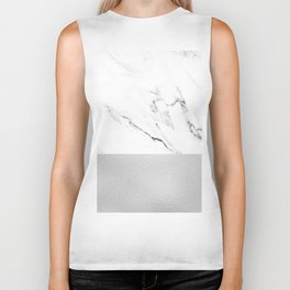White Marble with Black and Grey Silver Stripe Biker Tank