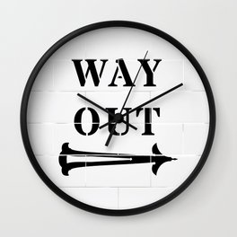 Way Out Sign, Subway Tiles, Right Arrow. Humour, Comedy. Wall Clock