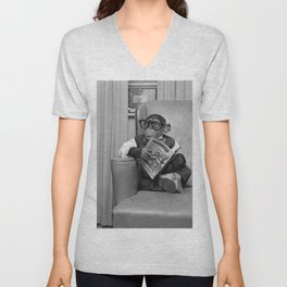 Dad on a Good Day - Chimpanzee Father reading the New York Times black and white photograph Unisex V-Neck