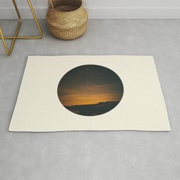 Vintage Sunset Mountain With Star Sky Rug
