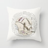 philosophy Throw Pillows featuring Philosophy Skuhl by clogtwo
