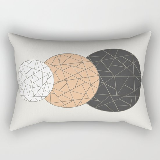 TRIAD ON BEIGE (abstract circles) Rectangular Pillow
