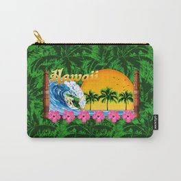 Hawaiian Surfing And Palm Trees Carry-All Pouch