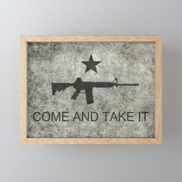 Come and Take it Flag with AR-15 Framed Mini Art Print