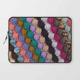 Colourful knitted stripes craft background Laptop Sleeve