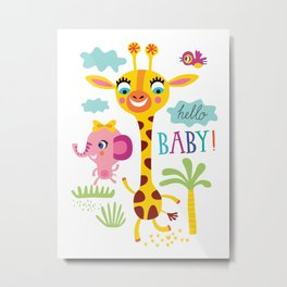 Wild Animal Safari Kids Jungle Pattern Metal Print