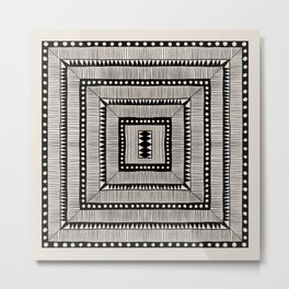 Black & White Symmetrical Pattern #3 Metal Print