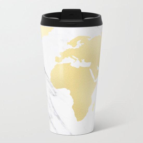 World Map Marble Gold Rush Metal Travel Mug