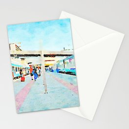 Travel by train from Teramo to Rome: people get off the trains stopped at the station Stationery Cards