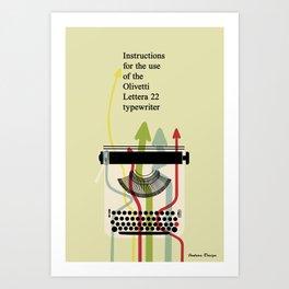 Retro Typewriter (Olivetti Lettera 22 Manual) Art Print