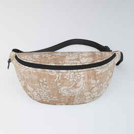 Vintage white brown grunge shabby floral Fanny Pack