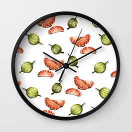 Tangerine and gooseberry pattern Wall Clock
