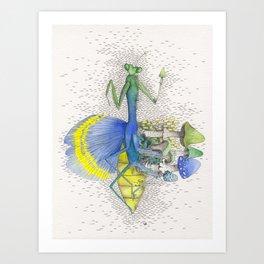 What is life? What is Death? n°10 Mantis / Mushroom Watercolor Painting Art Print