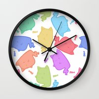 mew Wall Clocks featuring Mew-Boo by Lixxie Berry Illustration