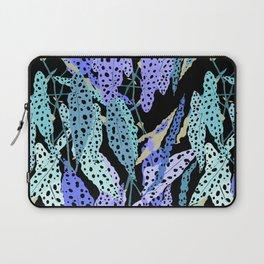 Polka Dot Begonia Leaves in Black + Blue Laptop Sleeve