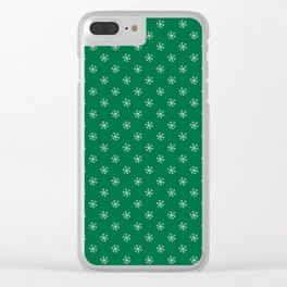White on Cadmium Green Snowflakes Clear iPhone Case