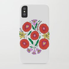 Hungarian embroidery inspired pattern white iPhone X Slim Case