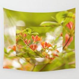 Azalea Glowing Embers orange flowers Wall Tapestry