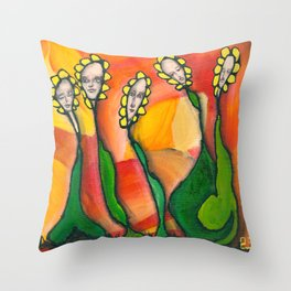 Flower people Throw Pillow