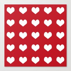 Hearts red and white minimal valentines day love gifts minimal gender neutral Canvas Print