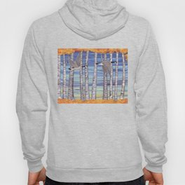 Canada geese, hedgehogs, and autumn birch trees Hoody