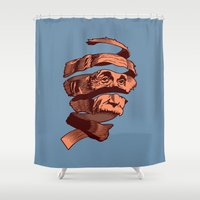 escher Shower Curtains featuring E=M.C. Escher by Tom Burns