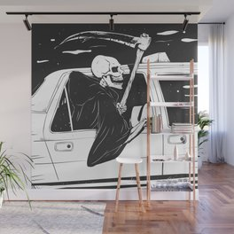 Passenger taxi grim - black and white - gothic reaper Wall Mural
