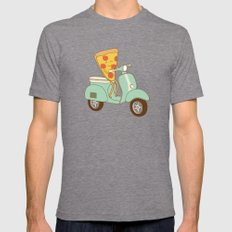 pizza delivery MEDIUM Tri-Grey Mens Fitted Tee