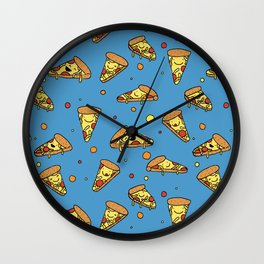 Cute Happy Smiling Pizza Pattern on blue background Wall Clock