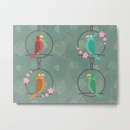 Tiki Birds Dark Metal Print