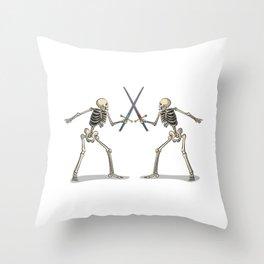 Sword fighting skeletons Throw Pillow